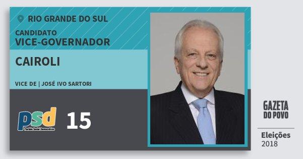 Santinho Cairoli 15 (PSD) Vice-governador | Rio Grande do Sul | Eleições 2018