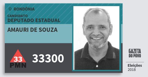 Santinho Amauri de Souza 33300 (PMN) Deputado Estadual | Rondônia | Eleições 2018