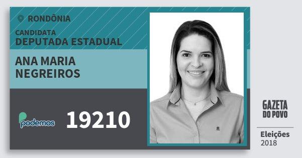 Santinho Ana Maria Negreiros 19210 (PODE) Deputada Estadual | Rondônia | Eleições 2018