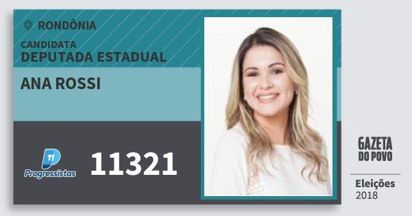 Santinho Ana Rossi 11321 (PP) Deputada Estadual | Rondônia | Eleições 2018