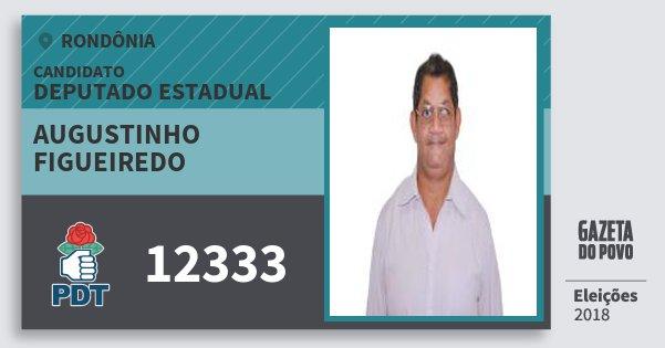 Santinho Augustinho Figueiredo 12333 (PDT) Deputado Estadual | Rondônia | Eleições 2018