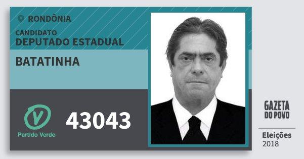 Santinho Batatinha 43043 (PV) Deputado Estadual | Rondônia | Eleições 2018