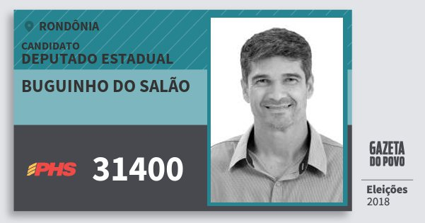 Santinho Buguinho do Salão 31400 (PHS) Deputado Estadual | Rondônia | Eleições 2018