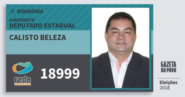 Santinho Calisto Beleza 18999 (REDE) Deputado Estadual | Rondônia | Eleições 2018