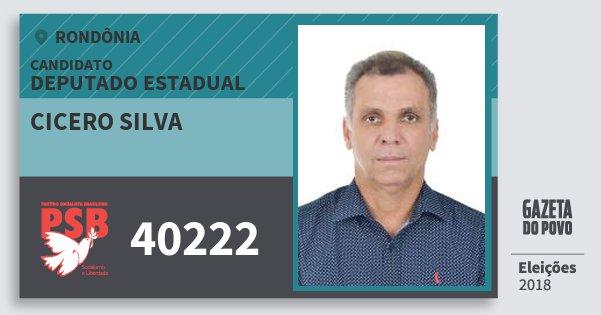 Santinho Cicero Silva 40222 (PSB) Deputado Estadual | Rondônia | Eleições 2018