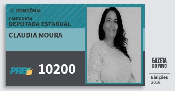 Santinho Claudia Moura 10200 (PRB) Deputada Estadual | Rondônia | Eleições 2018