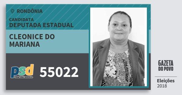 Santinho Cleonice do Mariana 55022 (PSD) Deputada Estadual | Rondônia | Eleições 2018