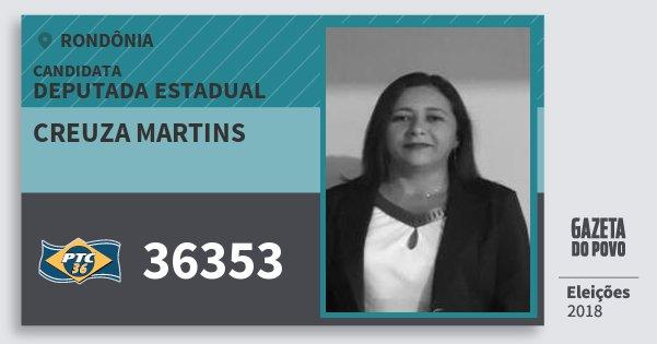 Santinho Creuza Martins 36353 (PTC) Deputada Estadual | Rondônia | Eleições 2018