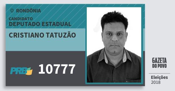 Santinho Cristiano Tatuzão 10777 (PRB) Deputado Estadual | Rondônia | Eleições 2018