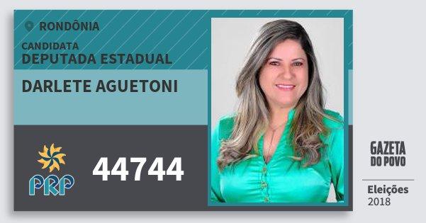 Santinho Darlete Aguetoni 44744 (PRP) Deputada Estadual | Rondônia | Eleições 2018