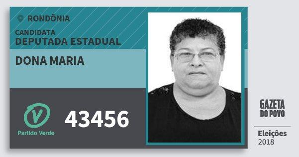 Santinho Dona Maria 43456 (PV) Deputada Estadual | Rondônia | Eleições 2018