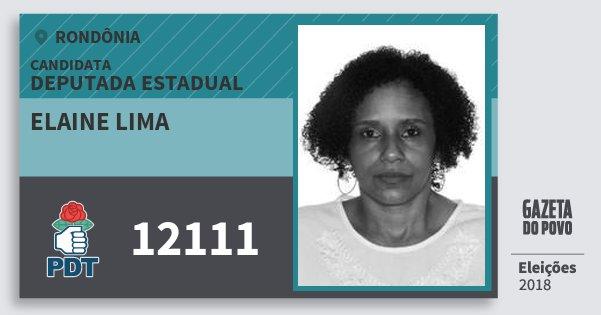 Santinho Elaine Lima 12111 (PDT) Deputada Estadual | Rondônia | Eleições 2018