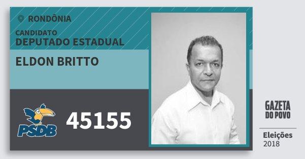 Santinho Eldon Britto 45155 (PSDB) Deputado Estadual   Rondônia   Eleições 2018