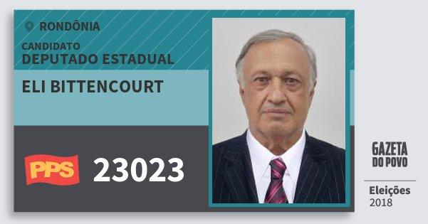 Santinho Eli Bittencourt 23023 (PPS) Deputado Estadual | Rondônia | Eleições 2018