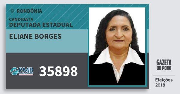 Santinho Eliane Borges 35898 (PMB) Deputada Estadual | Rondônia | Eleições 2018