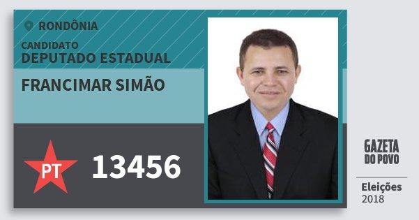 Santinho Francimar Simao 13456 (PT) Deputado Estadual | Rondônia | Eleições 2018
