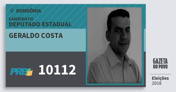 Santinho Geraldo Costa 10112 (PRB) Deputado Estadual | Rondônia | Eleições 2018