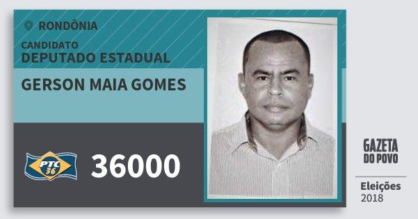 Santinho Gerson Maia Gomes 36000 (PTC) Deputado Estadual | Rondônia | Eleições 2018