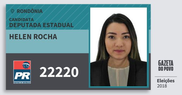 Santinho Helen Rocha 22220 (PR) Deputada Estadual | Rondônia | Eleições 2018