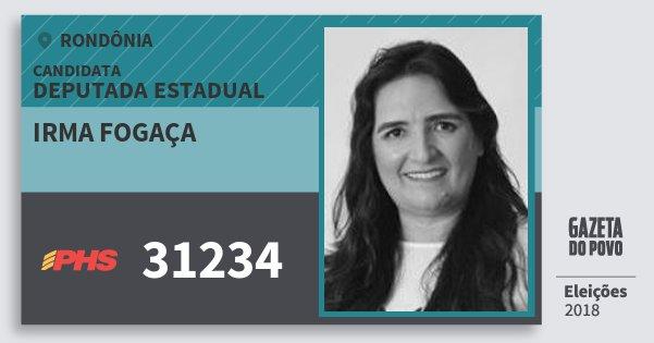 Santinho Irma Fogaça 31234 (PHS) Deputada Estadual | Rondônia | Eleições 2018