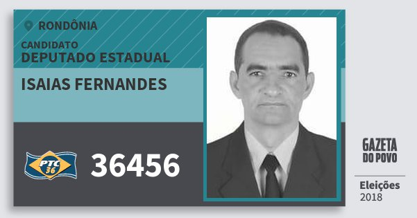 Santinho Isaias Fernandes 36456 (PTC) Deputado Estadual | Rondônia | Eleições 2018