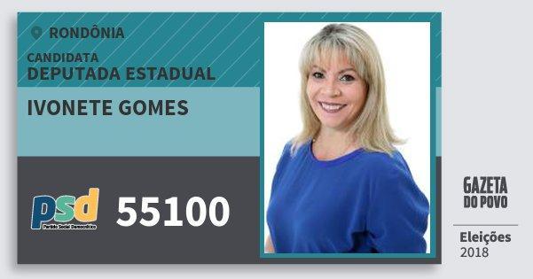Santinho Ivonete Gomes 55100 (PSD) Deputada Estadual | Rondônia | Eleições 2018