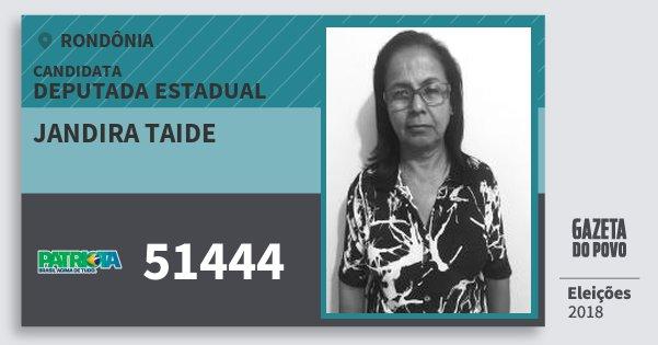 Santinho Jandira Taide 51444 (PATRI) Deputada Estadual | Rondônia | Eleições 2018