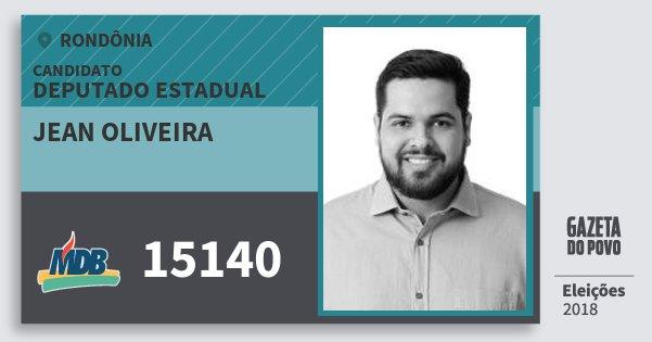 Santinho Jean Oliveira 15140 (MDB) Deputado Estadual | Rondônia | Eleições 2018