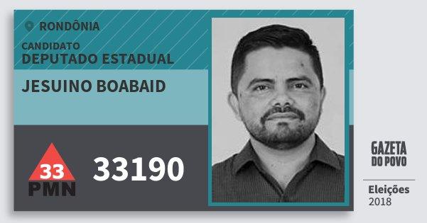 Santinho Jesuino Boabaid 33190 (PMN) Deputado Estadual | Rondônia | Eleições 2018