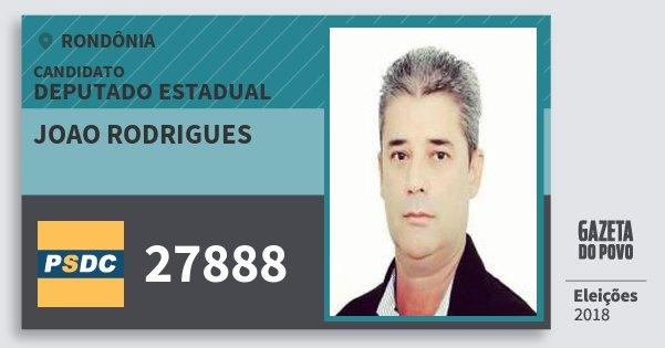 Santinho Joao Rodrigues 27888 (DC) Deputado Estadual | Rondônia | Eleições 2018