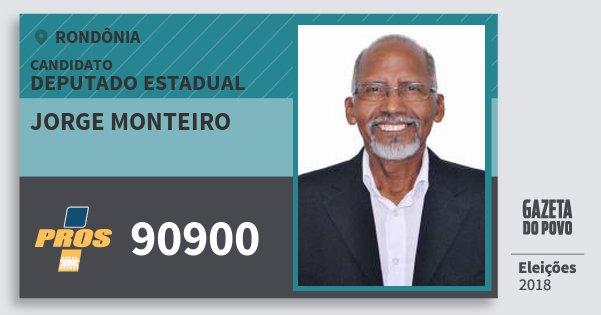 Santinho Jorge Monteiro 90900 (PROS) Deputado Estadual | Rondônia | Eleições 2018