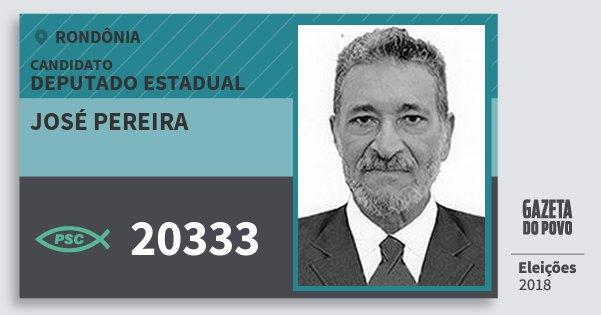 Santinho José Pereira 20333 (PSC) Deputado Estadual | Rondônia | Eleições 2018