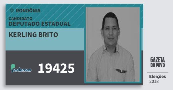 Santinho Kerling Brito 19425 (PODE) Deputado Estadual | Rondônia | Eleições 2018