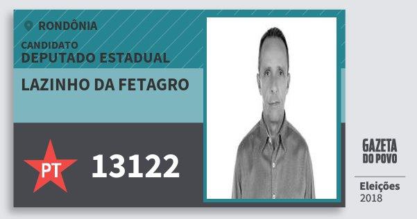 Santinho Lazinho da Fetagro 13122 (PT) Deputado Estadual | Rondônia | Eleições 2018