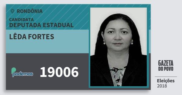 Santinho Lêda Fortes 19006 (PODE) Deputada Estadual | Rondônia | Eleições 2018