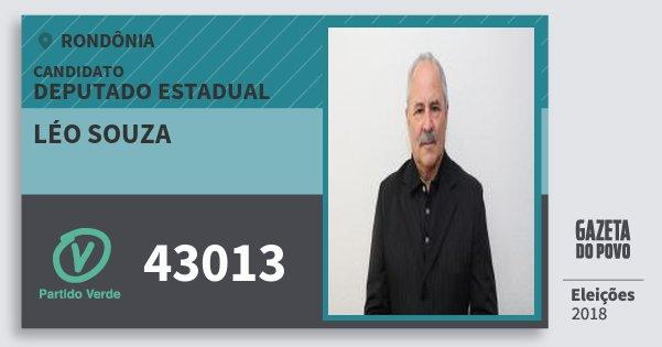 Santinho Léo Souza 43013 (PV) Deputado Estadual | Rondônia | Eleições 2018