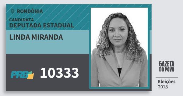 Santinho Linda Miranda 10333 (PRB) Deputada Estadual | Rondônia | Eleições 2018