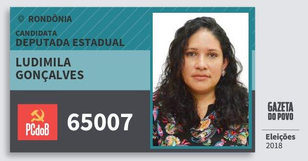 Santinho Ludimila Gonçalves 65007 (PC do B) Deputada Estadual | Rondônia | Eleições 2018