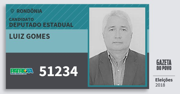 Santinho Luiz Gomes 51234 (PATRI) Deputado Estadual | Rondônia | Eleições 2018