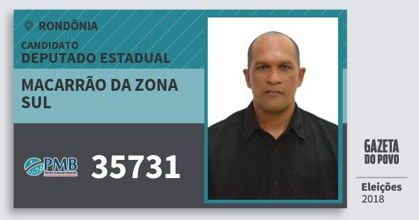 Santinho Macarrão da Zona Sul 35731 (PMB) Deputado Estadual | Rondônia | Eleições 2018