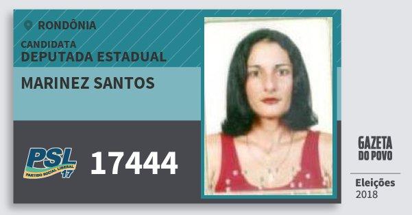 Santinho Marinez Santos 17444 (PSL) Deputada Estadual | Rondônia | Eleições 2018