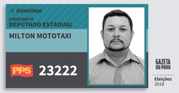 Santinho Milton Mototaxi 23222 (PPS) Deputado Estadual | Rondônia | Eleições 2018