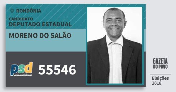 Santinho Moreno do Salão 55546 (PSD) Deputado Estadual | Rondônia | Eleições 2018