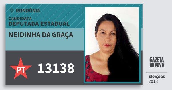Santinho Neidinha da Graça 13138 (PT) Deputada Estadual | Rondônia | Eleições 2018