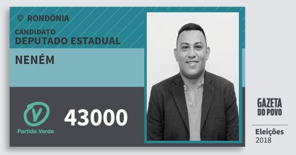 Santinho Neném 43000 (PV) Deputado Estadual | Rondônia | Eleições 2018