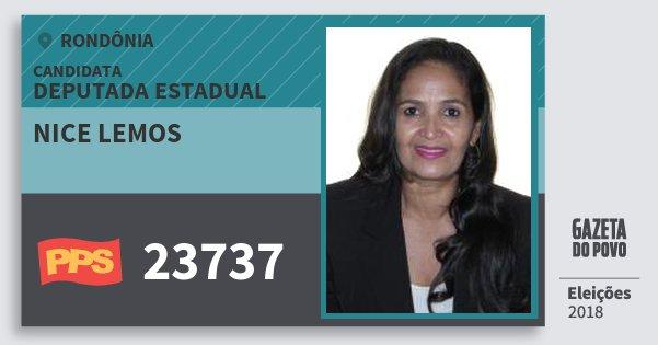 Santinho Nice Lemos 23737 (PPS) Deputada Estadual | Rondônia | Eleições 2018