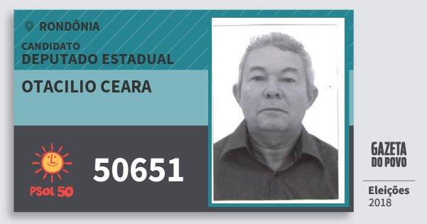 Santinho Otacilio Ceara 50651 (PSOL) Deputado Estadual | Rondônia | Eleições 2018