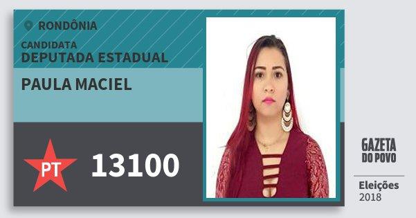 Santinho Paula Maciel 13100 (PT) Deputada Estadual | Rondônia | Eleições 2018