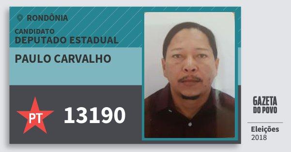 Santinho Paulo Carvalho 13190 (PT) Deputado Estadual | Rondônia | Eleições 2018