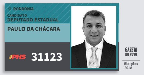 Santinho Paulo da Chácara 31123 (PHS) Deputado Estadual | Rondônia | Eleições 2018